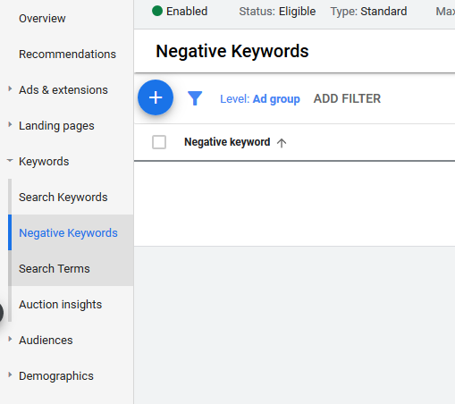 Negative Keywords in Google Ads User Interface